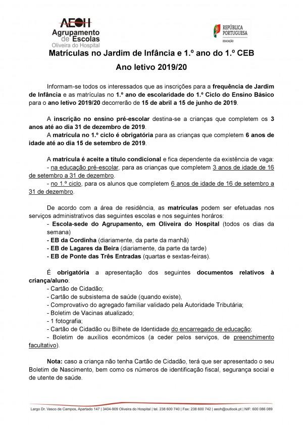 Matrículas no Jardim de Infância e 1.º ano do 1.º CEB, Ano letivo 2019/20